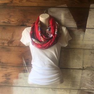 Accessories - 3/$25 Sale! Red and Floral Print Infinity Scarf